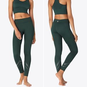 Tory Sport Side Pocket Chevron Leggings in Green